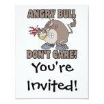 angry bull dont care funny cartoon parody custom invitation