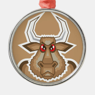 Angry Bull Silver-Colored Round Decoration