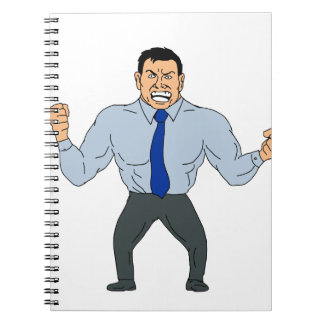 Angry Businessman Cartoon Notebooks