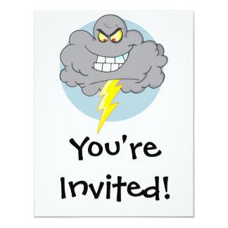 Angry Cartoon Black Cloud With Lightning 11 Cm X 14 Cm Invitation Card