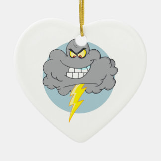 Angry Cartoon Black Cloud With Lightning Christmas Ornament