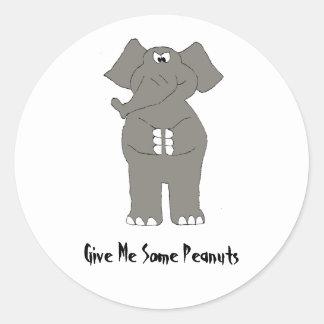 Angry Cartoon Elephant Round Sticker
