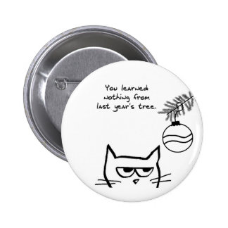 Angry Cat and the Christmas Tree 6 Cm Round Badge