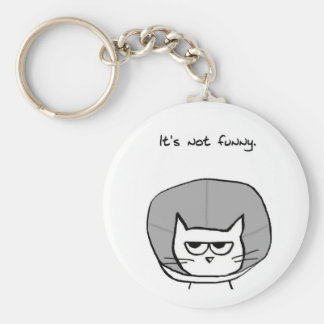 Angry Cat and the Cone of Shame Key Ring