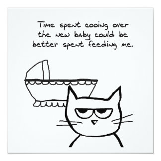 Angry Cat and the new Baby 13 Cm X 13 Cm Square Invitation Card