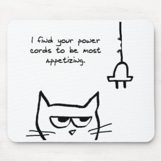 Angry Cat Chews up your Power Cords Mousepads