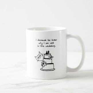 Angry Cat Crashes the Wedding Basic White Mug