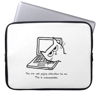 Angry Cat Demands Attention - Cat Laptop Sleeve