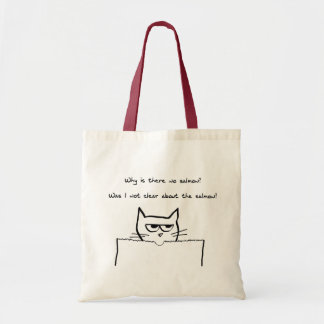 Angry Cat Demands Salmon - Funny Cat Tote Bag