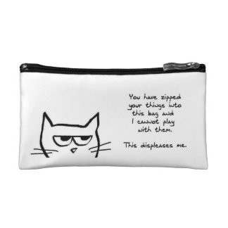Angry Cat Doesn't Like Zipped Bags Cosmetic Bag