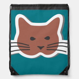 Angry cat drawstring bag