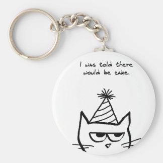 Angry Cat Hates Birthdays Key Ring