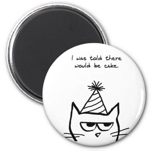Angry Cat Hates Birthdays Refrigerator Magnet