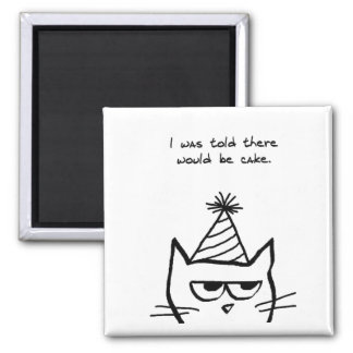 Angry Cat Hates Birthdays Square Magnet