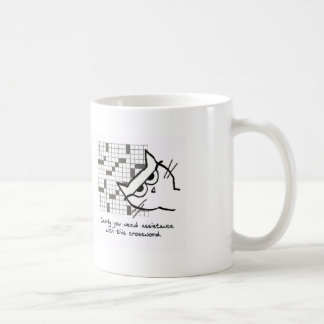 Angry Cat Helps with the Crossword Basic White Mug