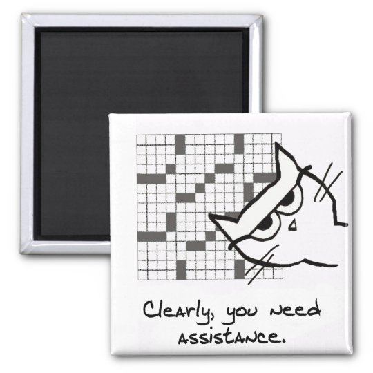 Angry Cat Helps with the Crossword Square Magnet