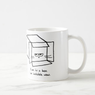 Angry Cat Hides in a Box Basic White Mug