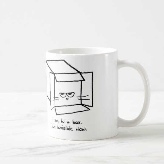 Angry Cat Hides in a Box Coffee Mug