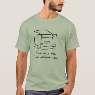 Angry Cat Hides in a Box - Funny Cat Guy Tshirt