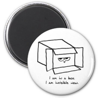 Angry Cat Hides in a Box 6 Cm Round Magnet