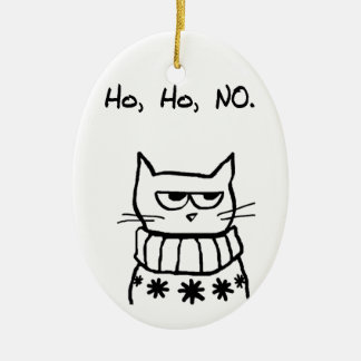 Angry Cat in a Christmas Sweater - Funny Cat Xmas Christmas Ornament