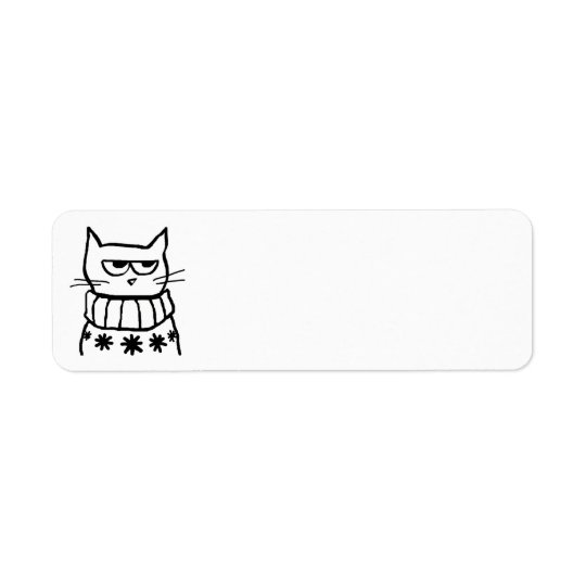 Angry Cat in a Christmas Sweater Return Address Label