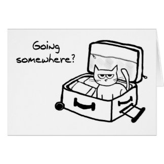 Angry Cat in Suitcase - Funny Gift for Travelers Greeting Card