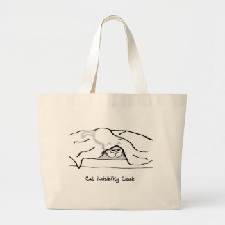 Angry Cat in the Bed sheets - He's invisible now Large Tote Bag