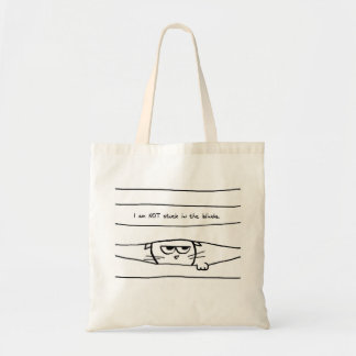 Angry Cat is NOT Stuck in the Blinds Budget Tote Bag