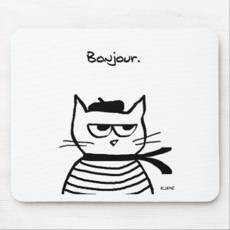 Angry Cat is So Very French Mouse Mat