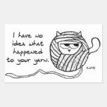 Angry Cat Likes Yarn Rectangular Sticker