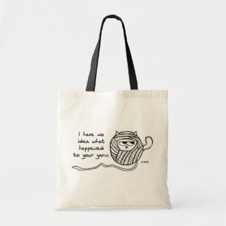 Angry Cat Likes Yarn Budget Tote Bag