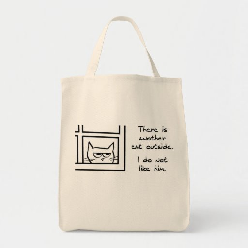 Angry Cat Sees Another Cat Canvas Bags