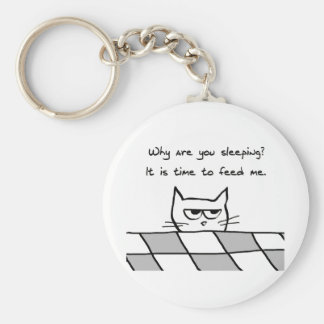 Angry Cat Wants You Out of Bed Basic Round Button Key Ring