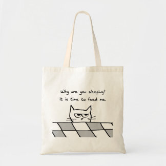 Angry Cat Wants You Out of Bed Budget Tote Bag