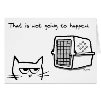 Angry Cat will NOT be going to the Vet - Funny Car Card