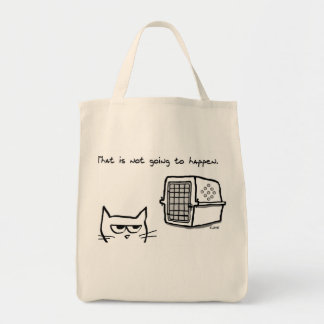Angry Cat will NOT be going to the Vet Grocery Tote Bag