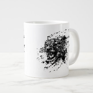 Angry Cheetah in Black Splash Pick Your Background Extra Large Mugs