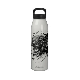 Angry Cheetah in Black Splash Pick Your Background Reusable Water Bottles
