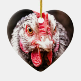 Angry Chicken Ceramic Heart Decoration