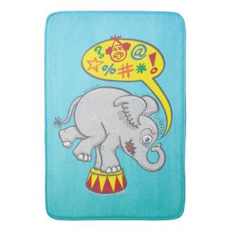 Angry circus elephant saying bad words bath mat