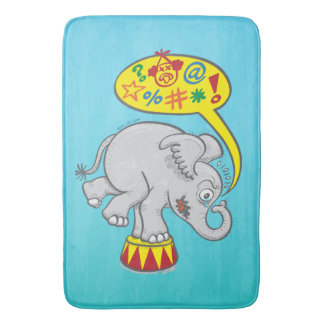Angry circus elephant saying bad words bath mats
