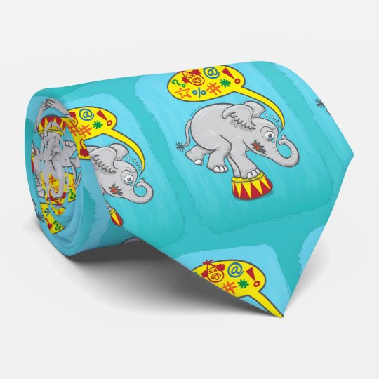 Angry circus elephant saying bad words tie