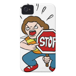 Angry Crossing Guard Cartoon Character Case-Mate iPhone 4 Case