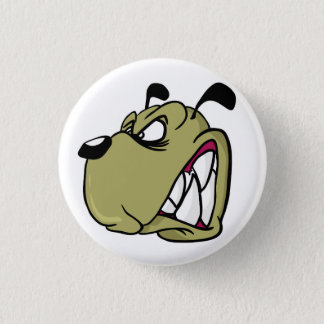 angry dog 3 cm round badge