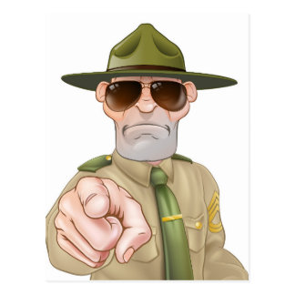 Angry Drill Sergeant Pointing Postcard