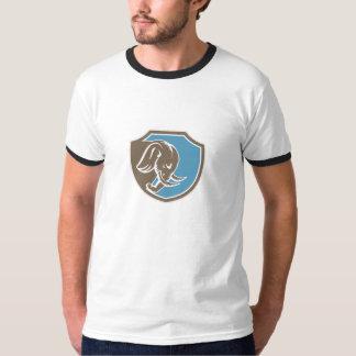 Angry Elephant Head Side Shield Retro Tee Shirt