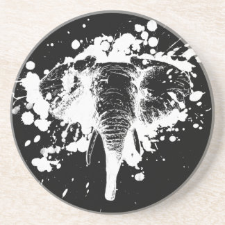 Angry Elephant in White Coaster