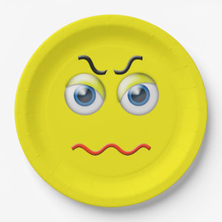 Angry Emoji Paper Plate