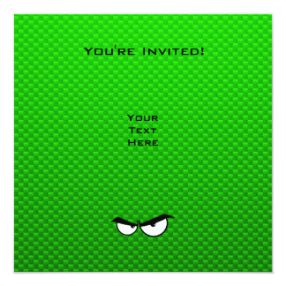 Angry Eyes; Green 13 Cm X 13 Cm Square Invitation Card